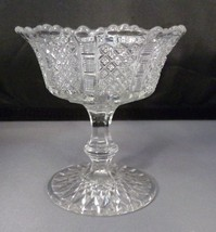 """Candy Compote Stemmed - Clear Glass Diamond & Ribbed Design 4.75"""" Tall V... - $5.94"""