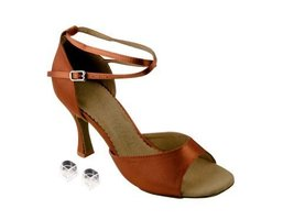 "Very Fine Ladies Women Ballroom Dance Shoes EKSA6012 Dark Tan Satin 2.5"" Heel... - $65.95"