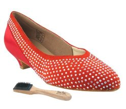 "Very Fine Ladies Women Ballroom Dance Shoes EKCD5506 Red Suede & Satin 1.1"" H... - $79.95"