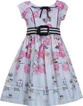 Little GIrls 2T-6X Blue Pink Floral Paris Border Belted Fit Flare Social Dress