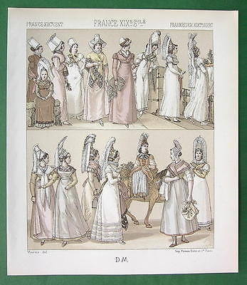 FRANCE Normandy Women Fashion Costume - TINTED Litho Print by Racinet