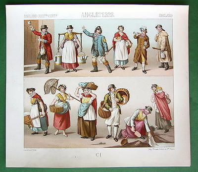 ENGLAND Costume Fashion Milkmaid Washerwomen etc - COLOR Litho Print by Racinet