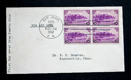 US Stamp Sc# 801 Block of 4 FDC Puerto Rico US Territory No Cachet 1937  - $8.99