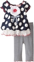 Baby Girls 3M-24M Navy-Blue White Polka Dot Scuba Knit Bubble Dress/Legging Set