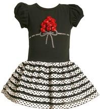 Little GIrls 2T-6X Black White Rosette Bouquet Eyelash Ruffle Drop Waist Dress