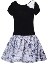 Little GIrls 2T-6X Black Lace and Pin Dot Chambray Social Party Dress