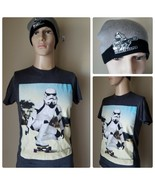 Star Wars Men's T-Shirt & Beanie Hat Storm Trooper Skateboard Gray Graph... - $19.56