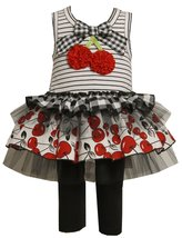 Little Girls 2T-6X Black White Red Bonaz Cherry Tier Tutu Dress/Legging Set
