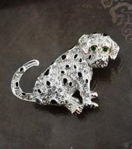 Signed 50 rhinestone brooch Dog Green eyed pup Figural Birthday Kennel C... - $35.00