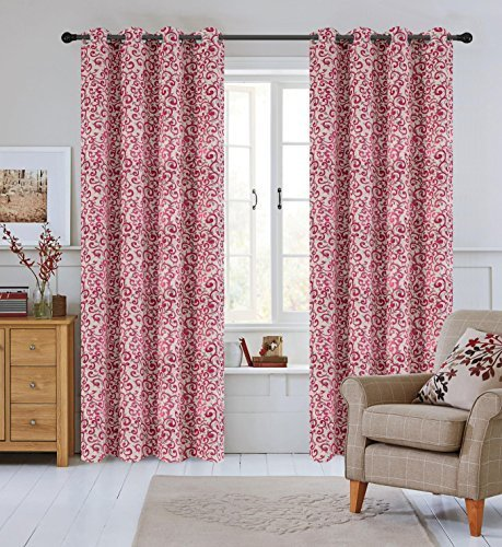 Urbanest 50-inch by 84-inch Set of 2 Jacquard Scroll Drapery Curtain Panel with  image 2