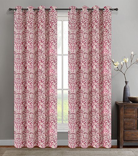 Urbanest 50-inch by 84-inch Set of 2 Jacquard Vine Drapery Curtain Panel with Gr image 2