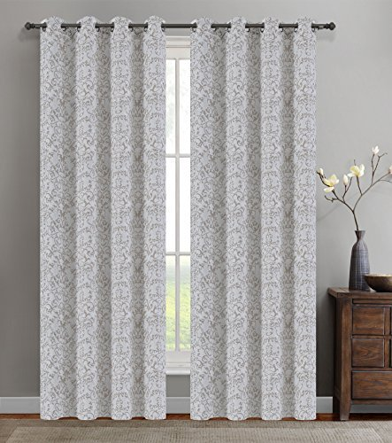 Urbanest 50-inch by 96-inch Set of 2 Jacquard Vine Drapery Curtain Panel with Gr image 2