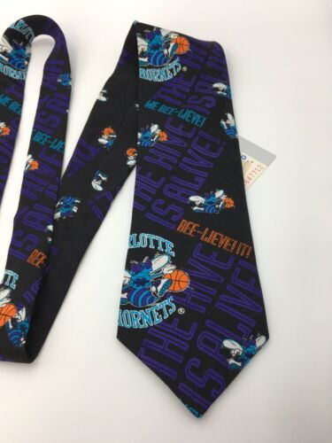 Vintage Ralph Marlin Mens Neck Tie Charlotte Hornets Basketball Unworn w tag  image 5