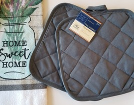 KITCHEN LINENS SET 6pc Home Sweet Home Towels Cloths Potholders Lavender Grey image 3