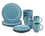 Stoneware Dinnerware Set 16-Piece Rachael Ray Cucina Dishes Kitchen Agave Blue