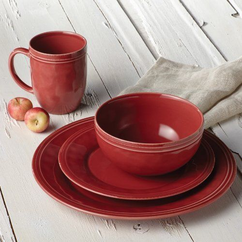 Red Stoneware Dinnerware Set 16 Piece Rachael Ray Cucina Kitchen Dining Dishe