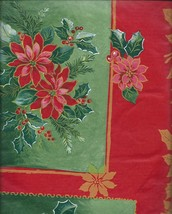"Holiday Winter Poinsettia Block Vinyl Tablecloth with Flannel Back 60"" R... - €10,19 EUR"