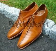 Handmade mens formal leather shoes Men Tan color dress shoes Mens shoes - $159.99