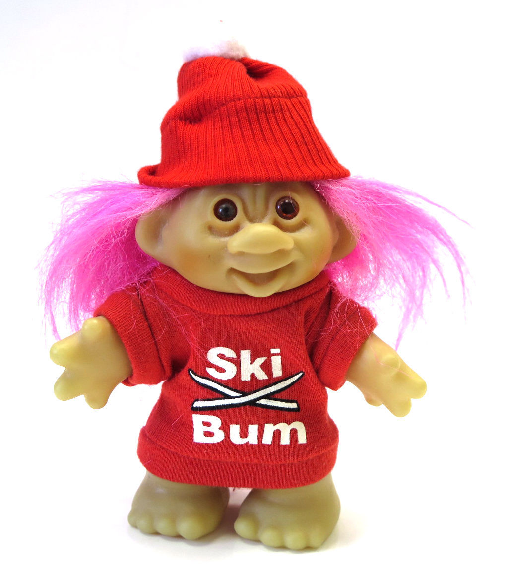 Vintage TROLL Doll SKI BUM 1986 By DAM  Pink Hair 5