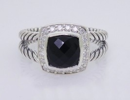 David Yurman Sterling Silver Black Onyx & Diamond Petite Albion Ring Size 7 - $325.71