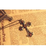 Carving Pattern Cross with Gems Pendant Necklace - $6.99