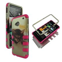 Pink Kitty Cat Hybrid 3 in 1 HTC One / M7 High Impact Shock Defender wit... - $9.89