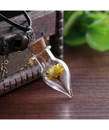 Handmade Daisy Dried Flower in Natural Glass Necklace - $12.00