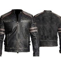 Men Biker Vintage Motorcycle Distressed Moto Black Retro Leather Jacket - FP - $99.99