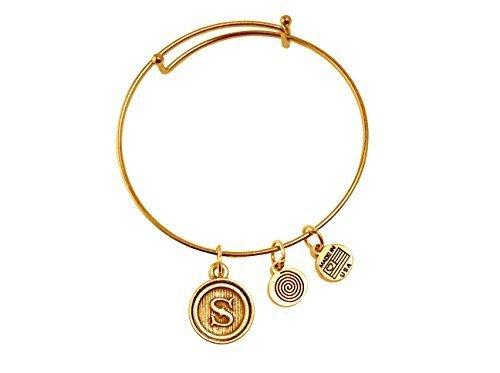 Letter S Medallion Gold Bangle Bracelet