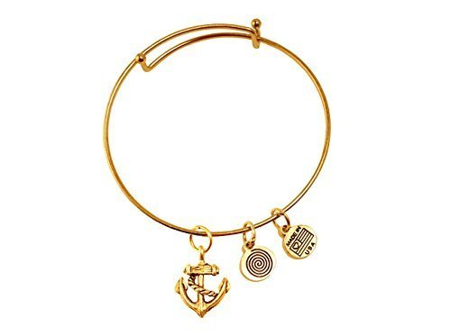 Anchor Gold Bangle Bracelet