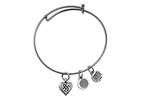 Celtic Heart Silver Bangle Bracelet