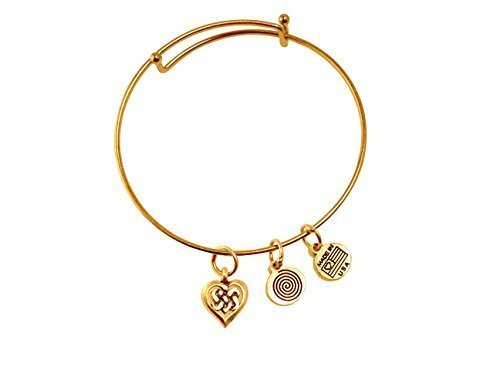Celtic Heart Gold Bangle Bracelet
