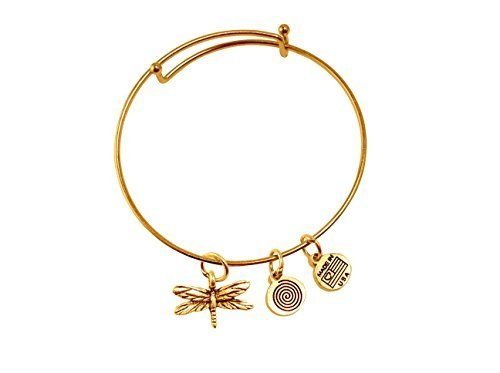 Small Dragonfly Gold Bangle Bracelet