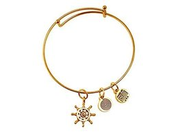 Nautical Ship's Wheel Gold Bangle Bracelet