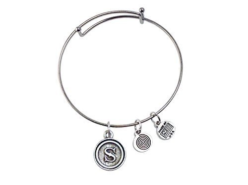 Letter S Medallion Silver Bangle Bracelet