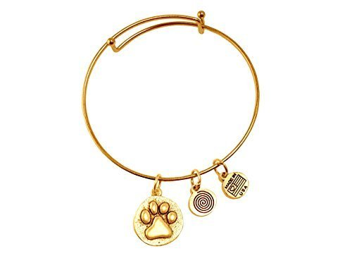 Paw Print Gold Bangle Bracelet