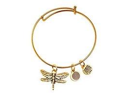 Large Dragonfly Gold Bangle Bracelet