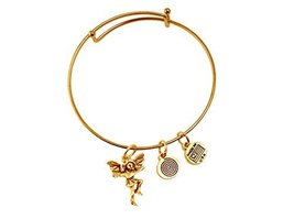 Playful Fairy Heart Gold Bangle Bracelet