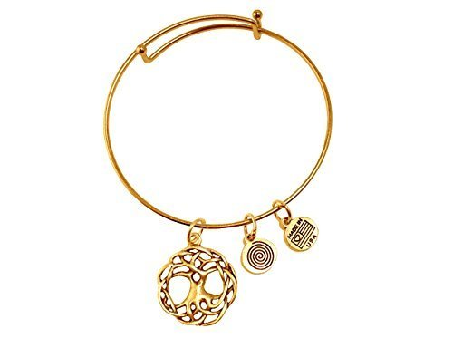 Large Tree of Life Gold Bangle Bracelet
