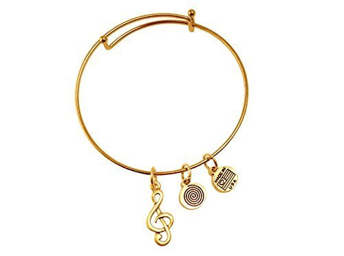 Musical G Clef Gold Bangle Bracelet