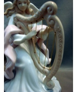 Glazed Porcelain Angel With Harp- with a