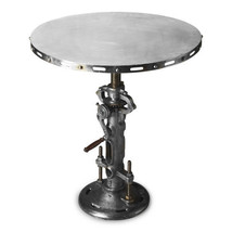 Restoration INdustrial Round Iron Dining Hall Pub Accent Crank Table Adj... - $940.50