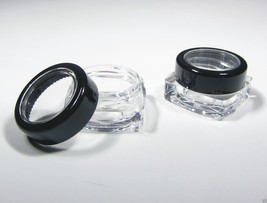 50 Square Cosmetic Jar Thick Wall Container Black Rim Acryic Lid 5 Gram Ml #3039 - $49.95