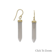 Gold Earrings with Gray Moonstone Spike - $74.99