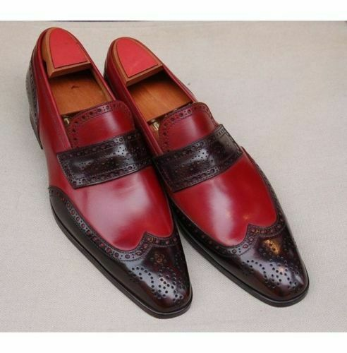 Handmade Men's Maroon & Brown Wing Tip Brogues Slip Ons Loafer Shoesf