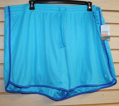 COOL NEW WOMENS PLUS SIZE 4X 26W 28W BRIGHT BLUE ACTIVE SUMMER MESH SHORTS - $13.07