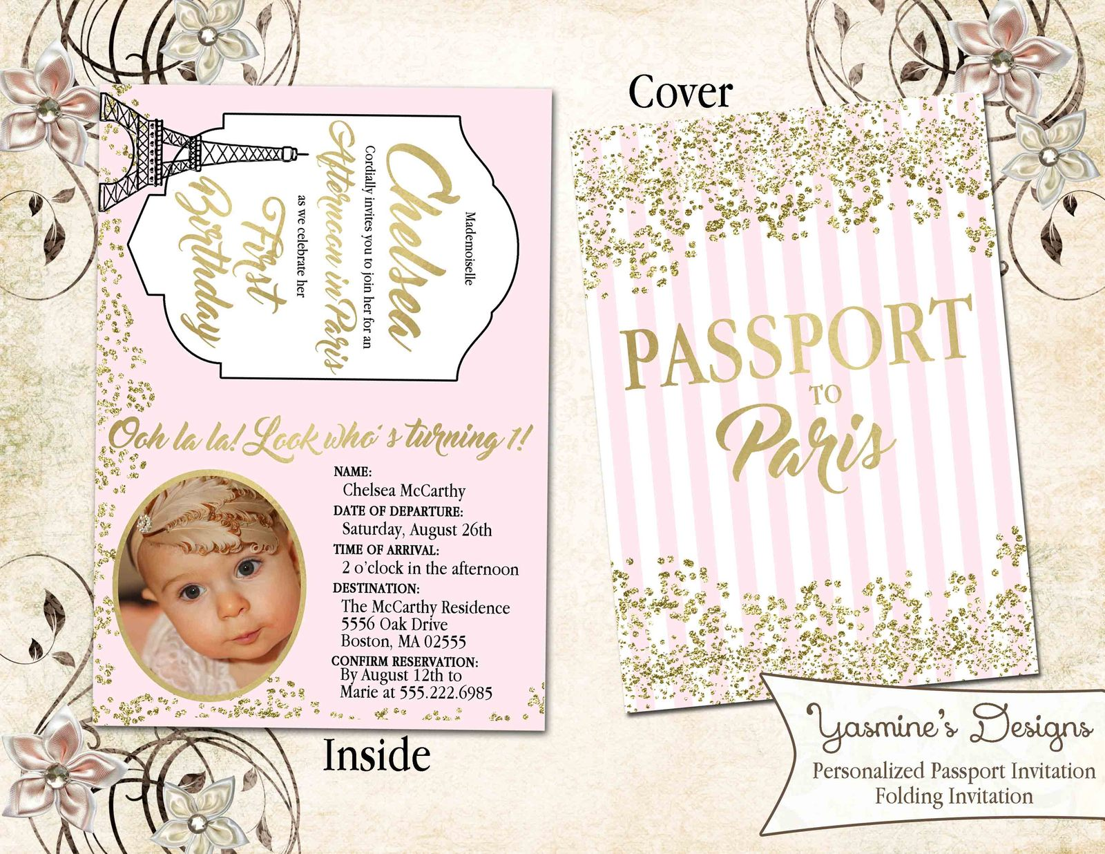 Paris Gold Confetti Eiffel Tower Passport And 50 Similar Items