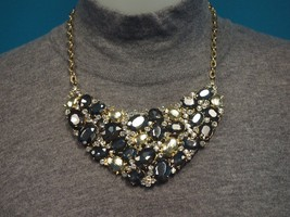 Alfani Gold Tone Bib Necklace with Gray Beads & Clear Crystals  NWT  M3/2 - $23.99