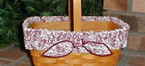 Primary image for Longaberger Basket Garter Medium Red White Love Letters Fabric Garter Only