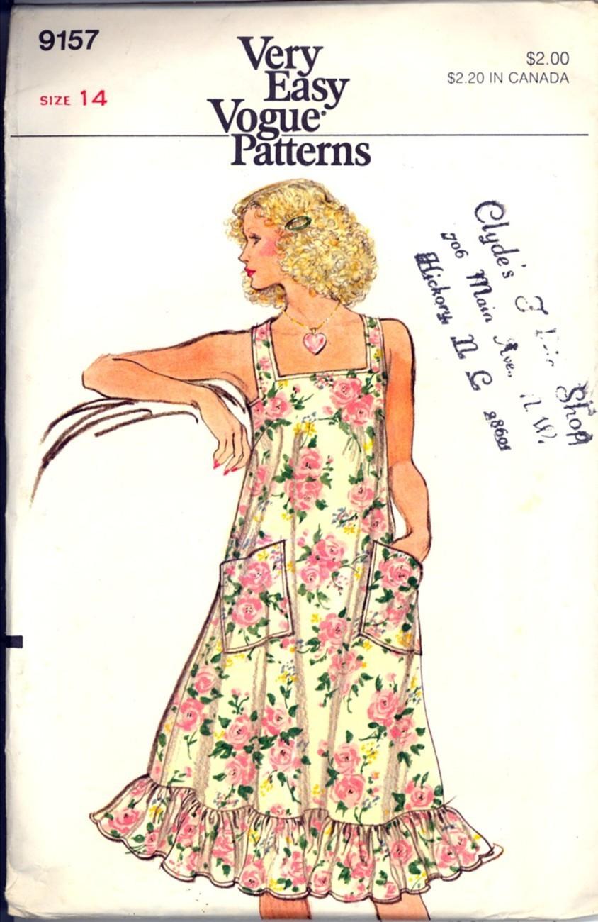 Vintage 70s Vogue Tent Dress Sun Sundress Size 14